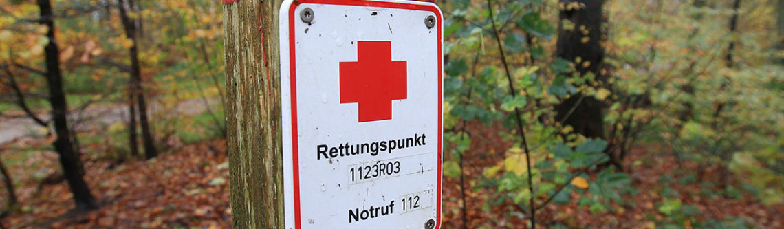 Rettungspunkt in einem landeseigenen Forst in Glücksburg